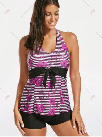 Buy Halter Floral Striped Backless Tankini Set - 2XL BLACK AND PINK Mobile