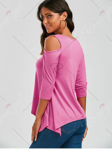 Buy Cold Shoulder Asymmetrical Tee - S PEACH RED Mobile