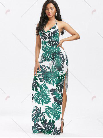 Outfits High Split Backless Printed Club Dress - S GREEN Mobile