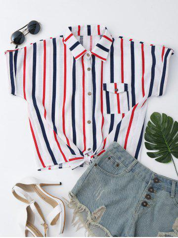 Sale Striped Knotted Button Up Shirt WHITE M
