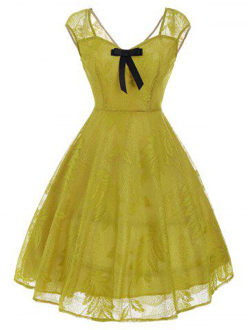 Vintage Bowknot Lace Fit et Flare Dress Jaune M