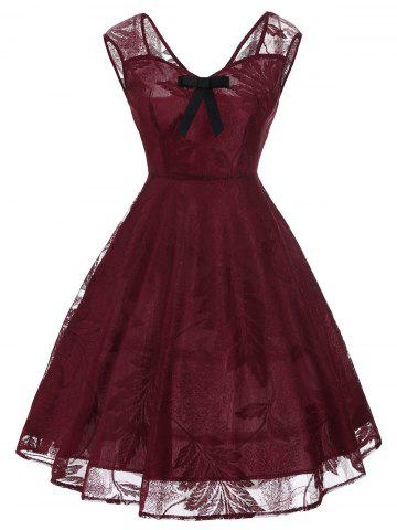 Vintage Bowknot Lace Fit et Flare Dress Rouge vineux L