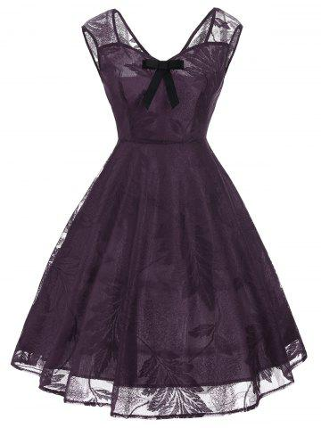 Vintage Bowknot Lace Fit et Flare Dress Pourpre XL