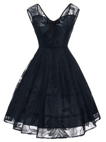 Vintage Bowknot Lace Fit et Flare Dress