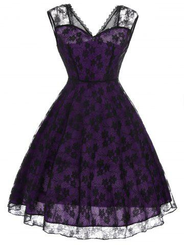 Floral Pattern Lace Vintage Fit and Flare Dress - Purple - 2xl