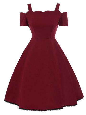High Waist Lace Trim Vintage Dress - Wine Red - 2xl