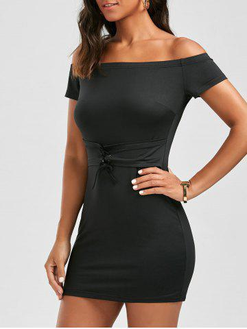 Fancy Off The Shoulder Bodycon Lace Up Dress