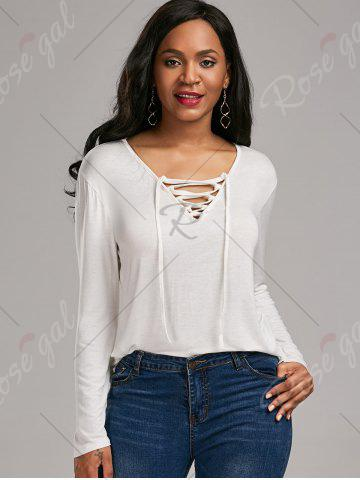 Sale Long Sleeve Lace Up Tee - S WHITE Mobile