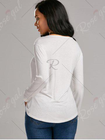 Latest Long Sleeve Lace Up Tee - S WHITE Mobile