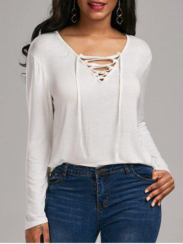 Shops Long Sleeve Lace Up Tee - S WHITE Mobile