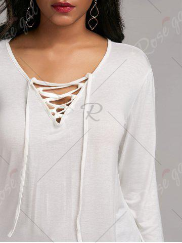 Shop Long Sleeve Lace Up Tee - S WHITE Mobile