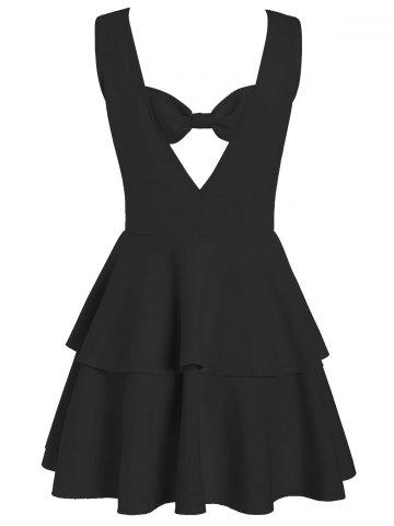 Layered Flouce Cut Out Back Tank Dress - Black - Xl