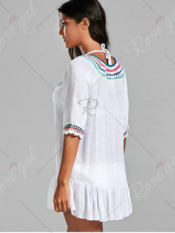 Discount Crochet Peasant Cover-Up Dress - ONE SIZE WHITE Mobile