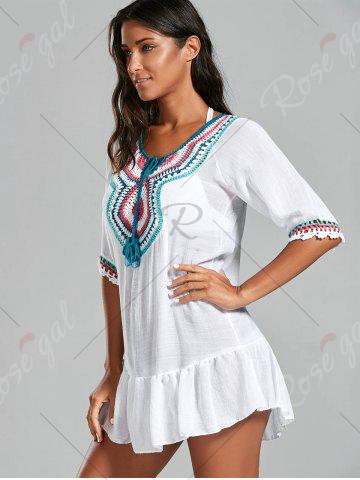Online Crochet Peasant Cover-Up Dress - ONE SIZE WHITE Mobile