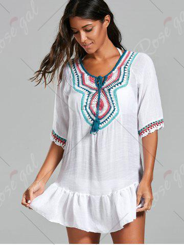 Sale Crochet Peasant Cover-Up Dress - ONE SIZE WHITE Mobile