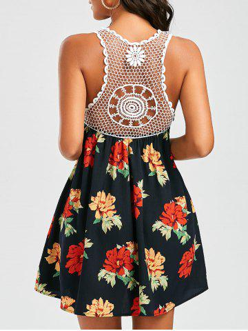 Openwork Crochet Trim Floral Dress - Colormix - L