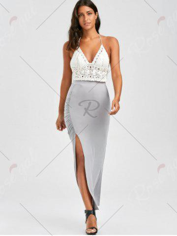 Shop Ruched Side Slit Maxi Pencil Skirt - M GRAY Mobile