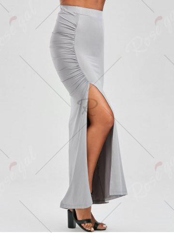 Fancy Ruched Side Slit Maxi Pencil Skirt - M GRAY Mobile