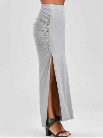Ruched Side Slit Maxi Pencil Skirt - Gray - M