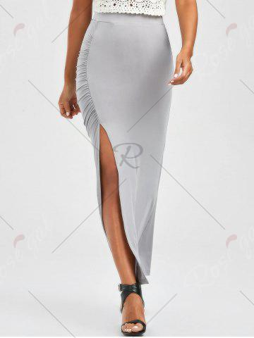Affordable Ruched Side Slit Maxi Pencil Skirt - M GRAY Mobile