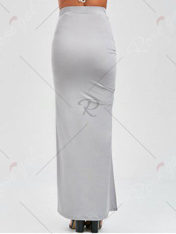Store Ruched Side Slit Maxi Pencil Skirt - M GRAY Mobile