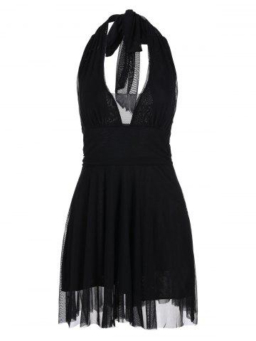 Backless Halter Skater Mini Dress - Black - 2xl