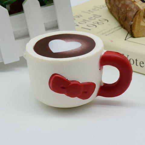 Affordable Slow Rising Squishy Toy Heart Bowknot Simulation Mug RED