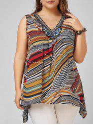 Plus Size Beading Decorated Striped Tank Top