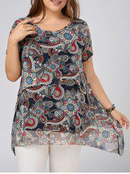 Plus Size Printed Chiffon Asymmetric Flowy Top
