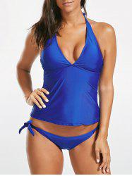 Low Cut Halter Tie Tankini Set