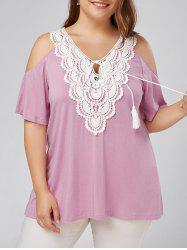 Crochet Plus Size Cold Shoulder Top