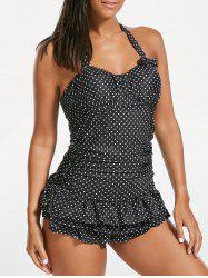 Halter Polka Dot Ruffles Backless Swimsuit - BLACK