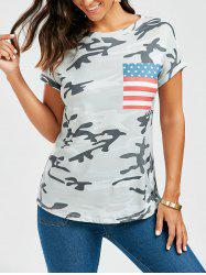 Print Patched American Flag Camo T Shirt