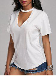 Plunging Neck Choker T Shirt