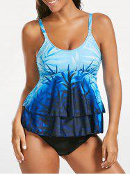 Cami Flounce Ombre Padded Tankini Set - LIGHT BLUE