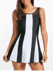 Two Tone Open Back Skirted Tankini Set - BLACK