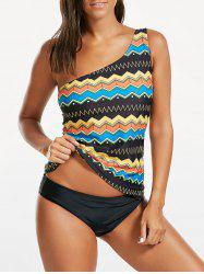 One Shoulder Printed Blouson Tankini Swimwear
