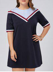 Stripe Panel Plus Size Cold Shoulder Tee Dress