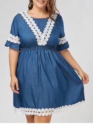 Plus Size Lace Trim Chambray Dress with Sleeves -