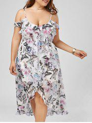 Cold Shoulder Butterfly Print Maxi Plus Size Slip Dress - FLORAL