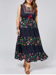 Plus Size Sleeveless Floral Maxi Prom Dress