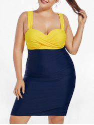 Two Tone High Waisted One Piece Plus Size Swimsuit
