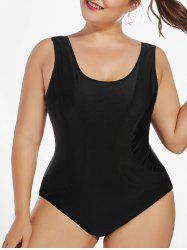 Mesh Trim Padded Plus Size One Piece Swimsuit