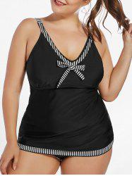 Plus Size Striped Padded Tankini Set