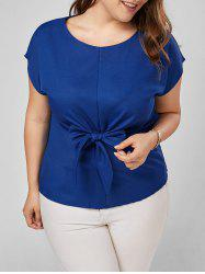 Plus Size Bow Knot Peplum Top