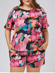 Plus Size Floral Open Shoulder Blouse with Culotte Shorts