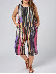 Plus Size Chiffon Stripe Tank Top and Palazzo Pants Set