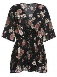 Plus Size Floral Chiffon Surplice Top