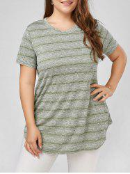 Plus Size Marled Stripe  Plain T-shirt -