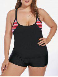 Stripe Plus Size Padded Blouson Tankini and Swim Boyshorts